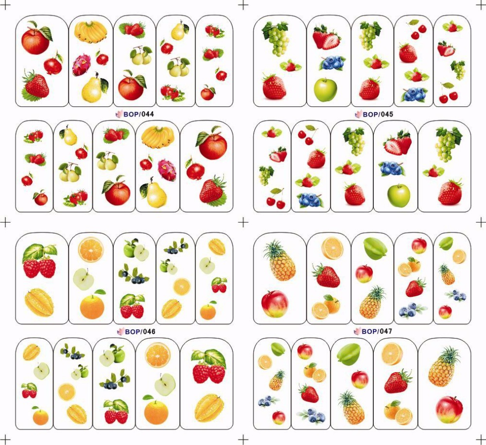 1sheet Summer Styles Nail Art Water Stickers Fruit Apple Pears Printing Decals Full Decorations Nail Art Tools BOP044-047(China (Mainland))