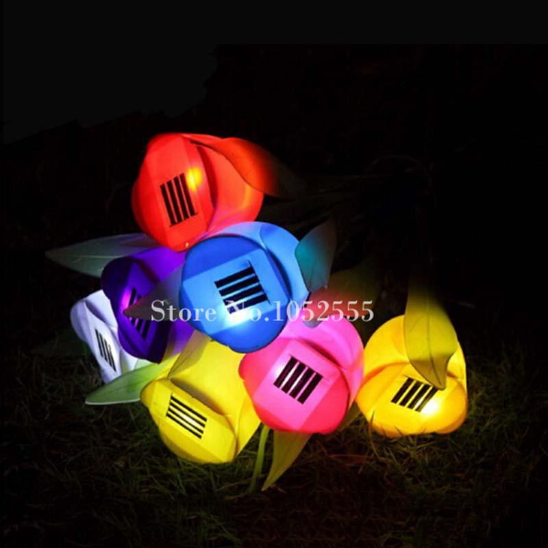 Cheap & Stock 8PCS/lot Outdoor Solar Powered Tulip Flower LED Light Yard Garden Path Way Landscape Lamp K56(China (Mainland))