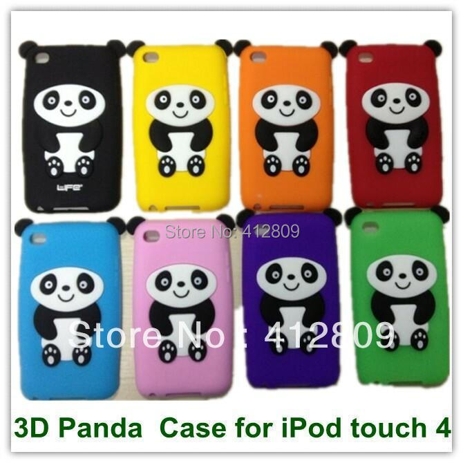 100PCS EMS/DHL Hot Cute Aniamsl Soft Rubber Silicon 3D Panda Kungfu Bear Back Case for iPod touch 4 Free Shipping(China (Mainland))