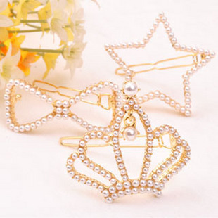 Free Shipping 2016 new jewelry pearl beads hairpin royal five-pointed star heart bow crown pearl side-knotted clip gold women(China (Mainland))