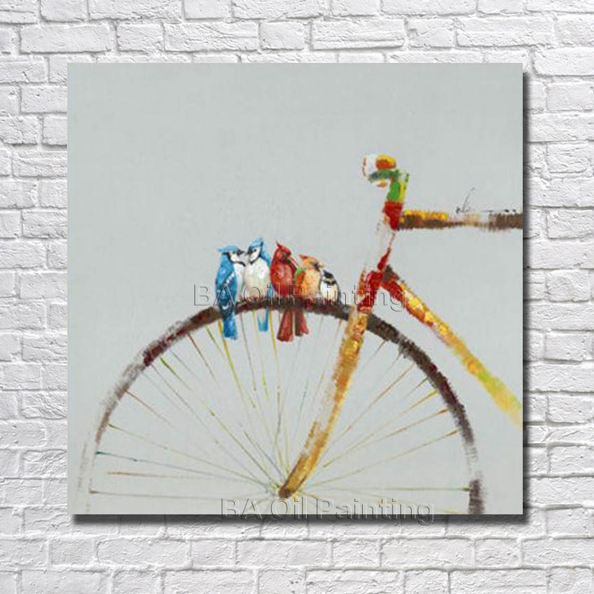 100% Handpainted Abstract Bird on The Bicycle Oil Painting