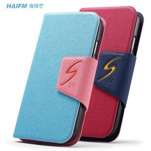 10pcs/lot Luxury business Stand leather wallet Case Cover For Samsung Galaxy S4 i9500 with card holder Free shipping
