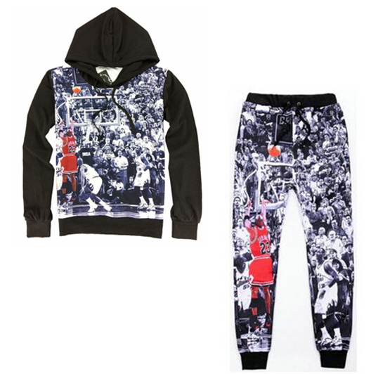 Hip hop 3d sweatshirt&joggers 3d sweat suits printed Jordan dunk suit set men/women Street clothes Sports suit 2 pieces(China (Mainland))