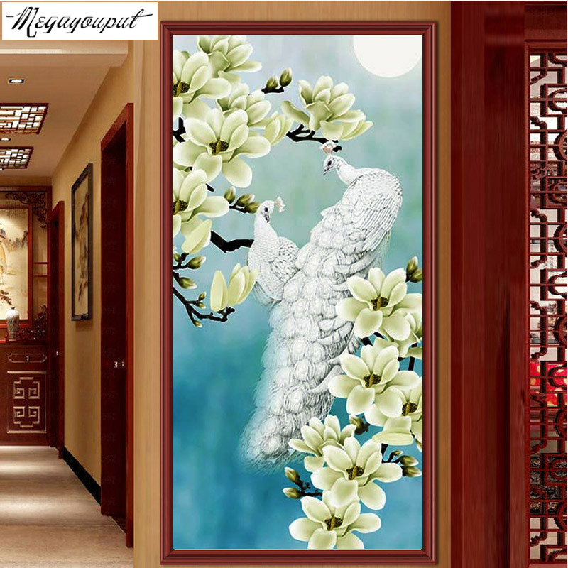 5D diamond embroidery Diy Diamond painting cross stitch Magnolia flower white peacock picture Diamond Mosaic home Decoration(China (Mainland))