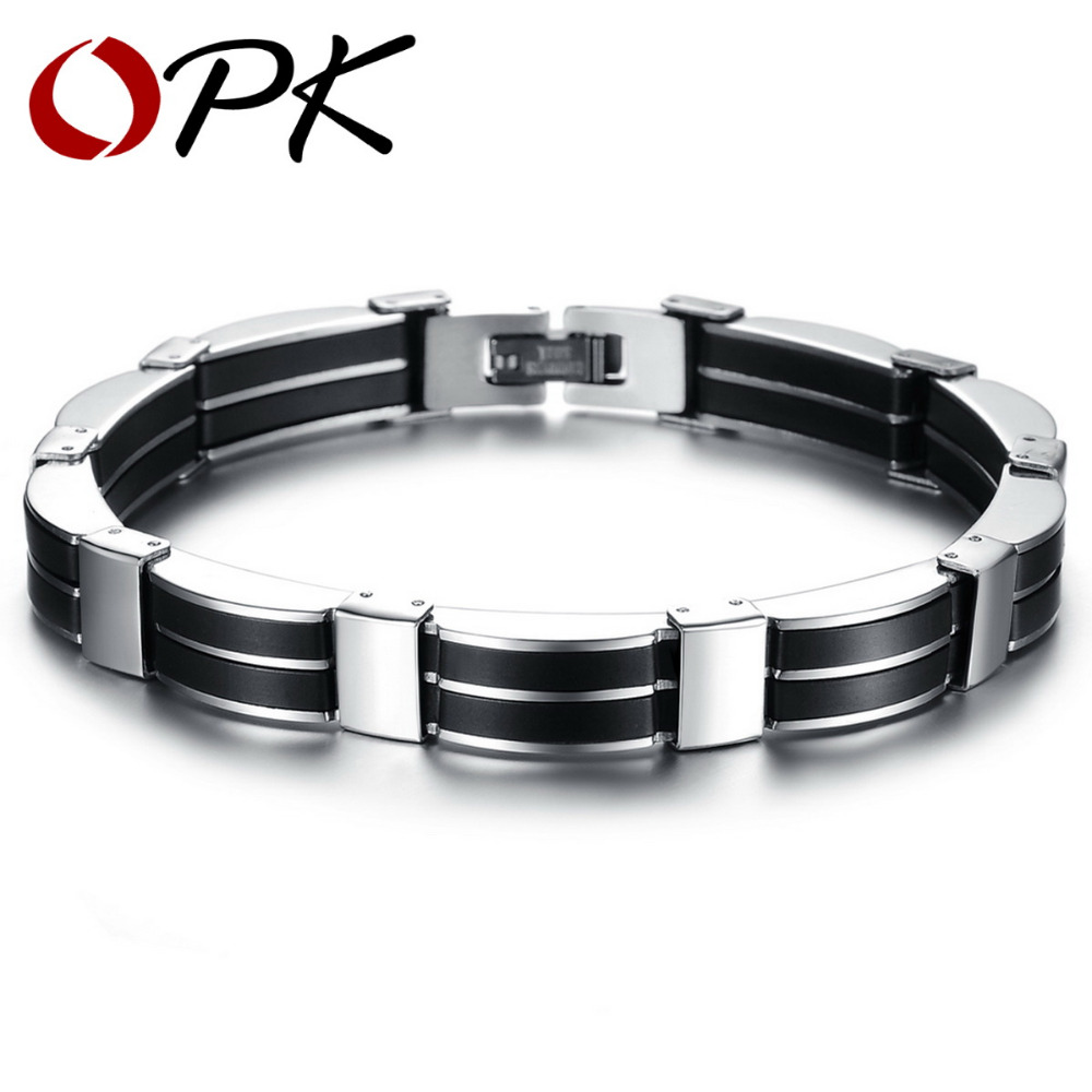 OPK JEWELRY Trendy Silicone Stainless Steel Wire-Cable Chain Handmade Wide Wristband Black Punk Rock Men Accessory 815(China (Mainland))