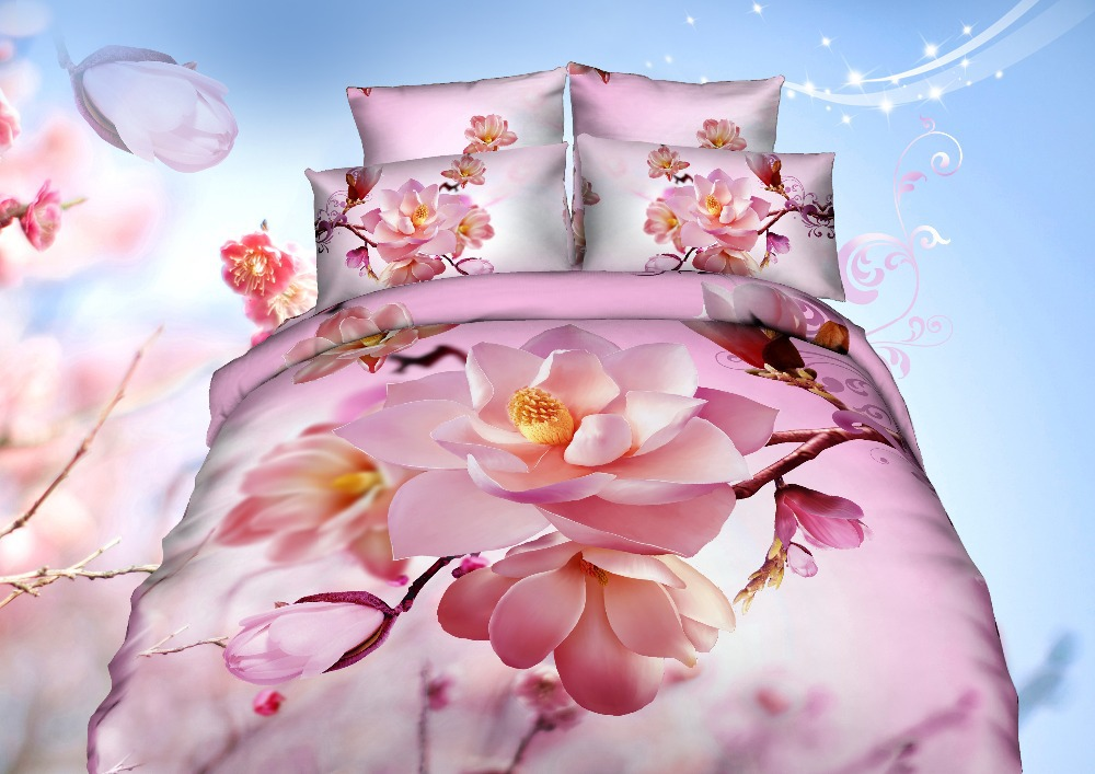 3D 4 pieces bedding sets duvet cover/Pillow cases/Bed sheet 100% Cotton High quality reactive printing bedding set(China (Mainland))