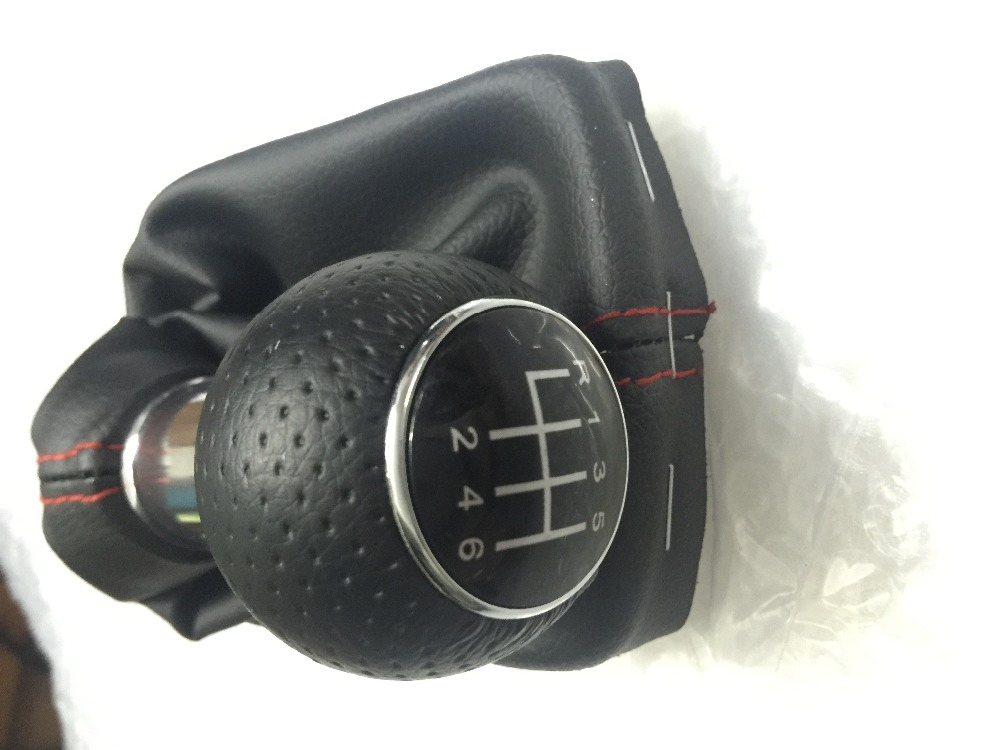 free shipping for audi a3 s3 2001 2002 2003 new 6 speed car gear shift knob with pu leather giator with red line 8l0863278bj 6bn(China (Mainland))
