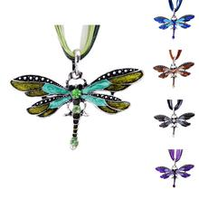 Fashion Animal Dragonfly Style Pendant Necklace Vintage Rhinestone Necklace Romantic Rope Statement Chain Necklace for Women (China (Mainland))