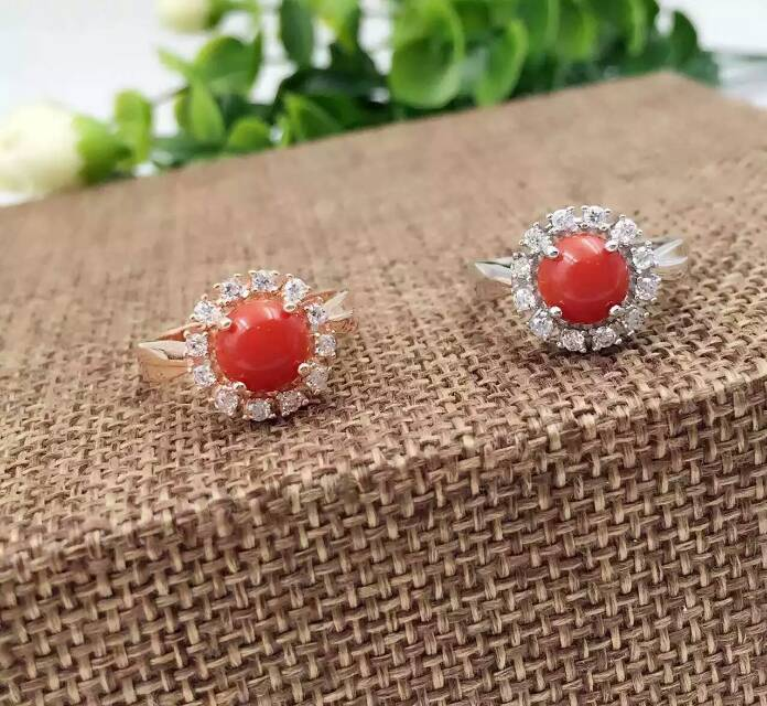 Fashion luxurious personality Sunflower natural red coral rings 925 sterling silver natural gem stone ring women party jewelry(China (Mainland))