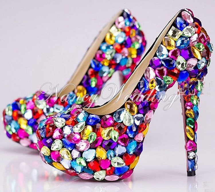 New candy color crystal wedding shoes nightclub rhinestone platform bridal shoes Graduation party Prom Shoes