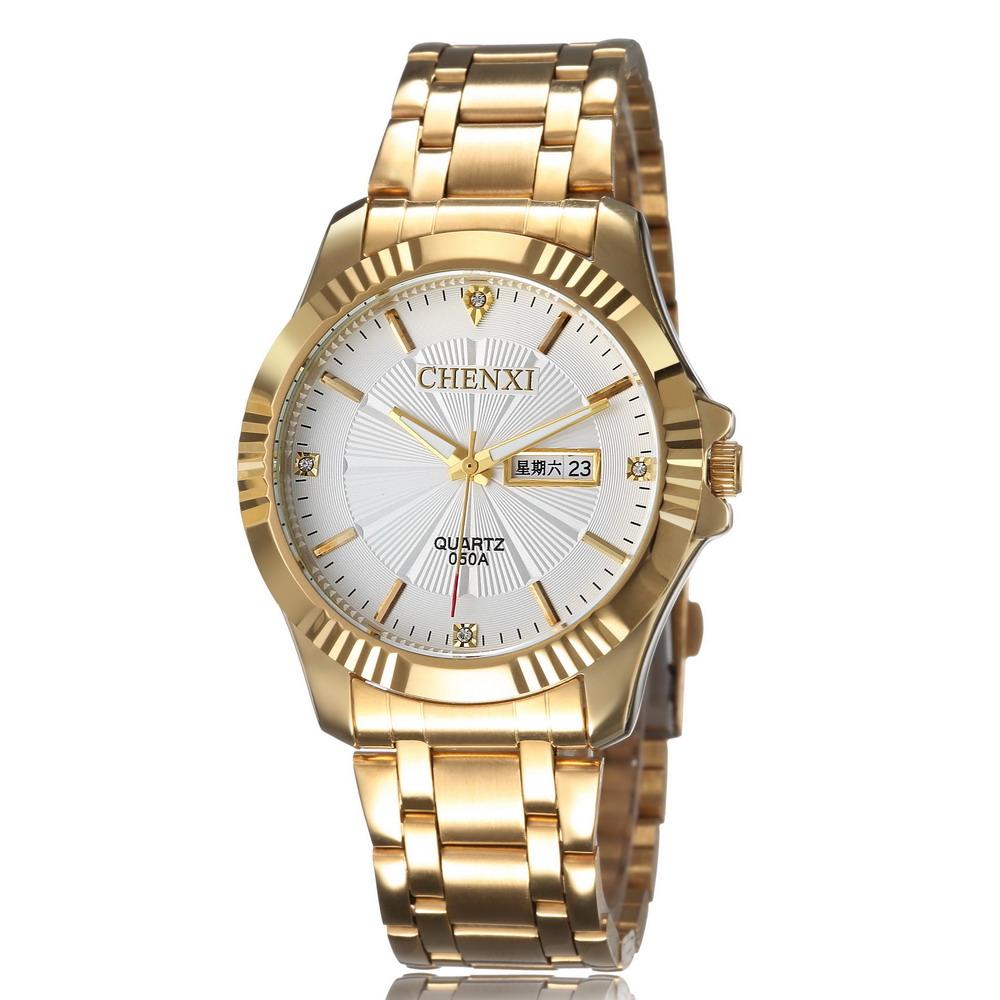 2015 hot sale CHENXI Brand Gold Stainless Steel Band Relogio Masculino Rhinestone Analog Men Quartz Business Dress Watches<br><br>Aliexpress