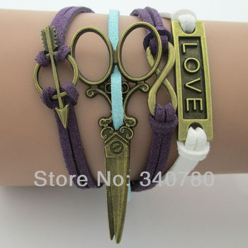 Vintage love, scissors,infinity,Arrow bronze charm bracelets South Korea soft materials velvet bracelets  free shipping BS1
