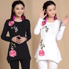 3XL 2XL XL L M size original long sleeve black white shirt ethnic design flower embroider shirt vintage asymmetrical top blusa
