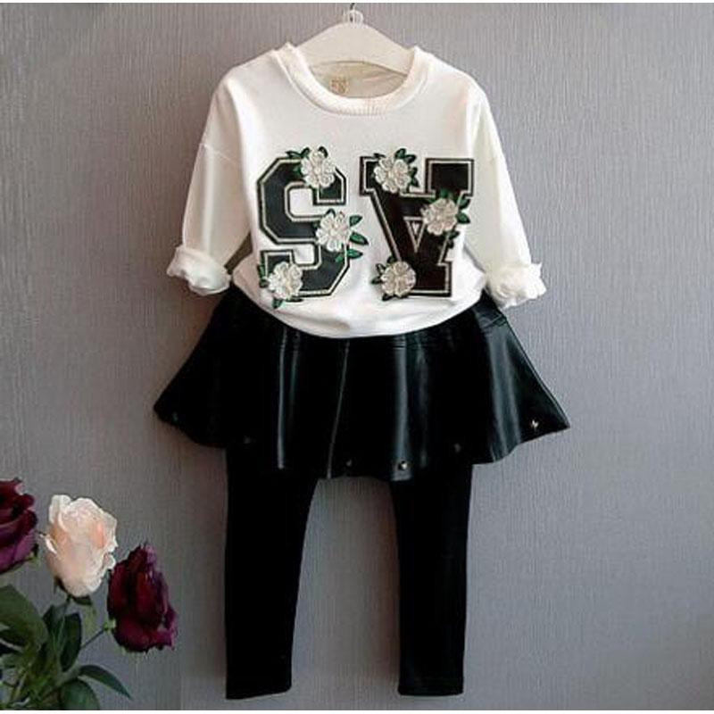 girls clothing set brand 2016 autumn girl clothing set letter Flowers T shirt+pant with skirt kids clothing set for girl clothes(China (Mainland))