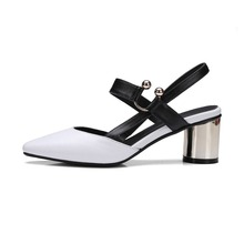 Buy 2017 Shoes women shallow fashion genuine leather round toe preppy style metal heels solid pumps slingback sandals young lady 27 for $50.29 in AliExpress store