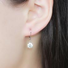 Amazing 2 Carat ct High End G-H Lab Grown Moissanite Diamond Genuine 18k 750 White Gold Drop/Dangle Earrings(China (Mainland))