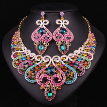 White Gold Plated Jewellery  Bridal Jewelry Sets Wedding Necklace And Earring For Brides Fashion Accessories Christmas Present
