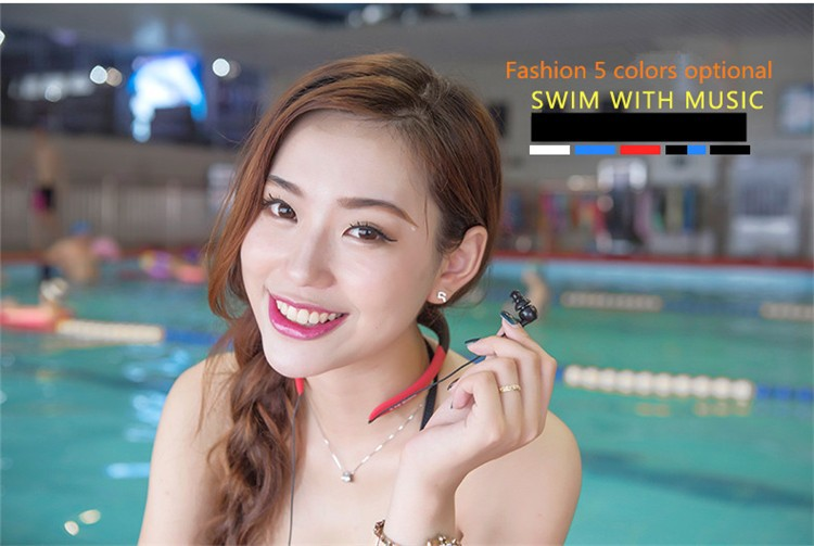 Askmeer IPX8 Waterproof 8GB Underwater Sport MP3 Music Player Neckband Stereo Earphone Audio Headset with FM for Diving Swimming