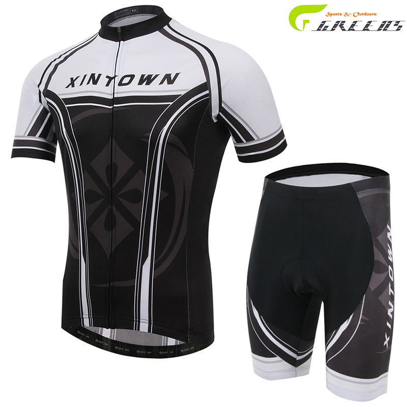 Xin Town brand short sleeve cycling bike jerseys for male quick dry breathable anti-sweat black white clothing(China (Mainland))
