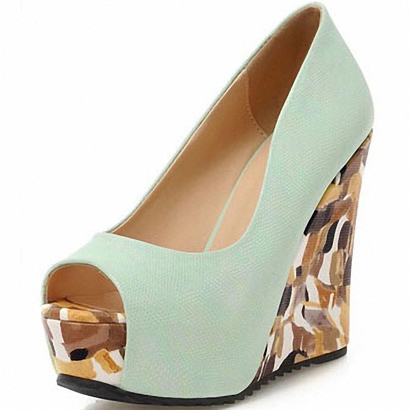 ENMAYER  Women Pumps Sexy Leopard Platform Pumps Fashion Solid Round toe Platform High Heels Party Wedge Shoes Pumps
