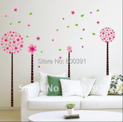 ! living room wall sticker,pink cherry tree lovly star stickers, home decor paper, SPC009 - EMILYGU KIDS FASHION STORE store
