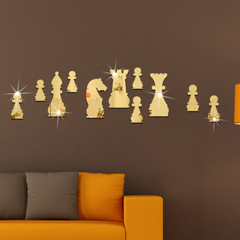11Pcs/Set Fashion Home Decor International Chess Shape Mirror Wall Stickers Gold Silver Room Decorative Mirrors Mural Art Decals(China (Mainland))