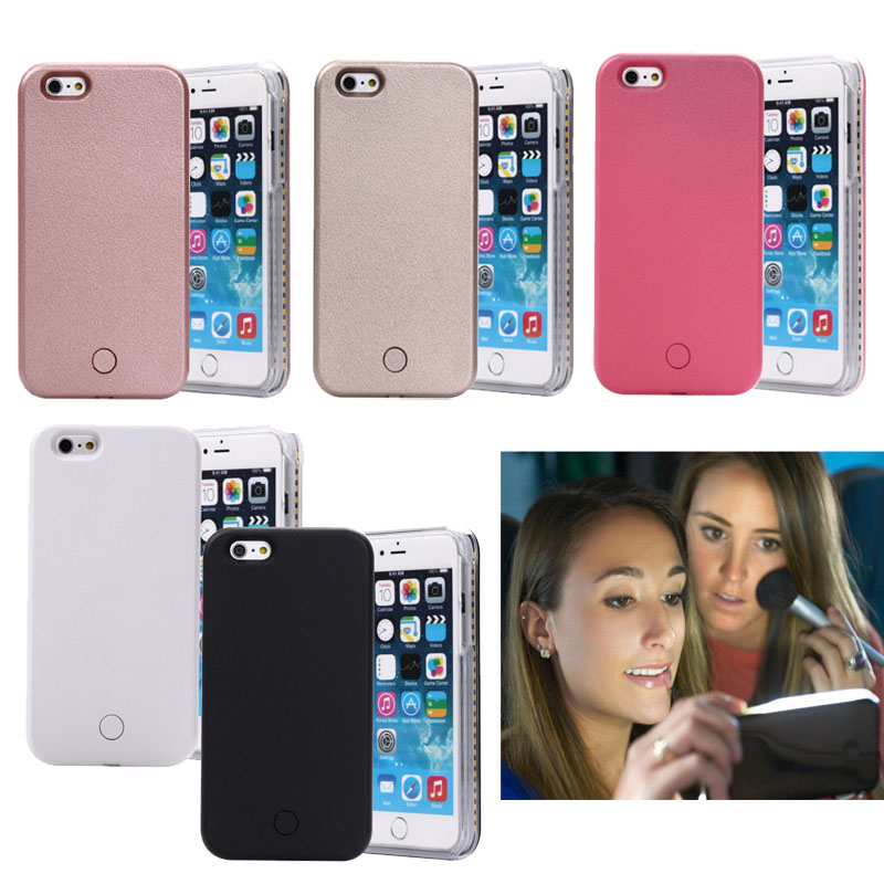 2017 Self fill light hard PC Case iPhone 7 5 5S SE 6 6S 6 Plus 6s plus Emitting Flash Light-emitting LED Cover Capinha
