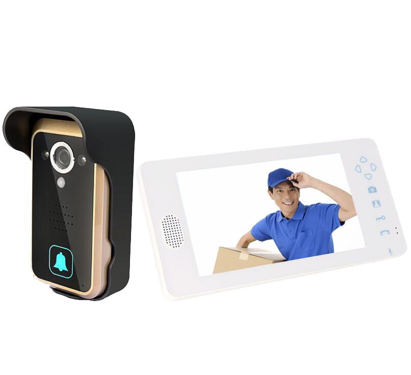Wireless Video Door Phone Intercom PIR Sensor Night Vision Camera wide angle 7 inch TFT LCD(China (Mainland))