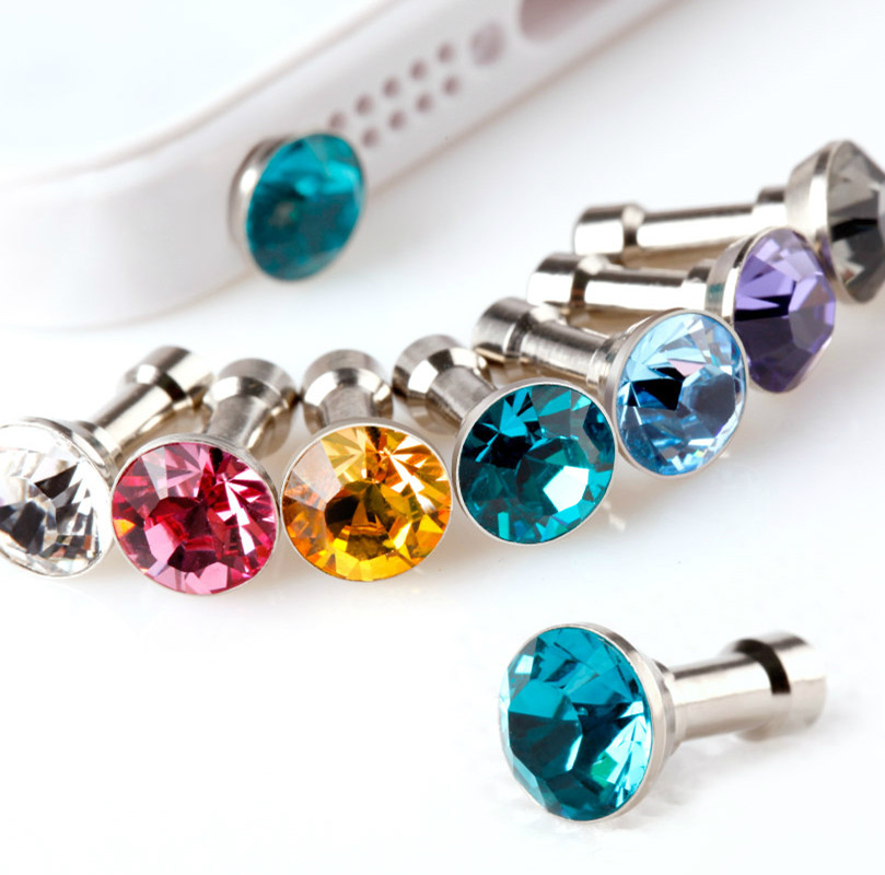 10pcs/Lot Universal Diamond Rhinestone 3.5mm Earphone Jack Dust Plug Cell Phone Accessories Stopper Cap For iPhone Mobile Phone(China (Mainland))