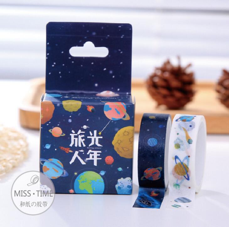 1.5CM Wide Fantastic Universe Travel Washi Tape Adhesive Tape DIY Scrapbooking Sticker Label Masking Tape<br><br>Aliexpress