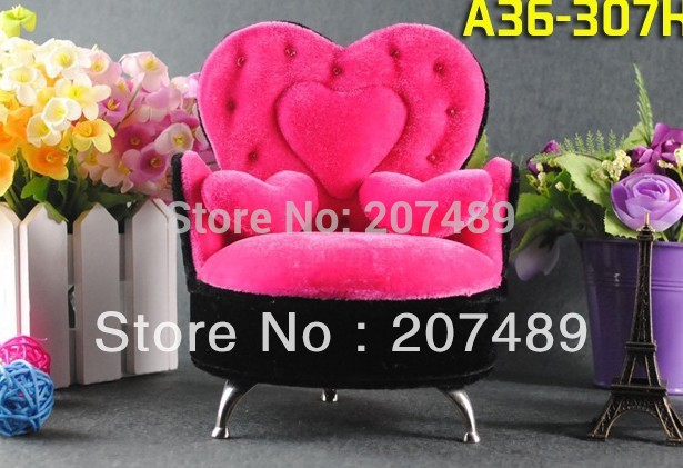 mini furniture three heart sofa velvet jewellery box case organizer storage display for earring ring necklace for gift wedding(China (Mainland))