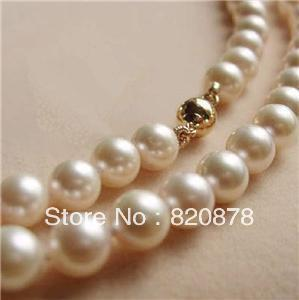 "Wholesale 14K Solid Gold CL 8-9MM White Akoya Pearl Necklace 18"" fashion jewelry"