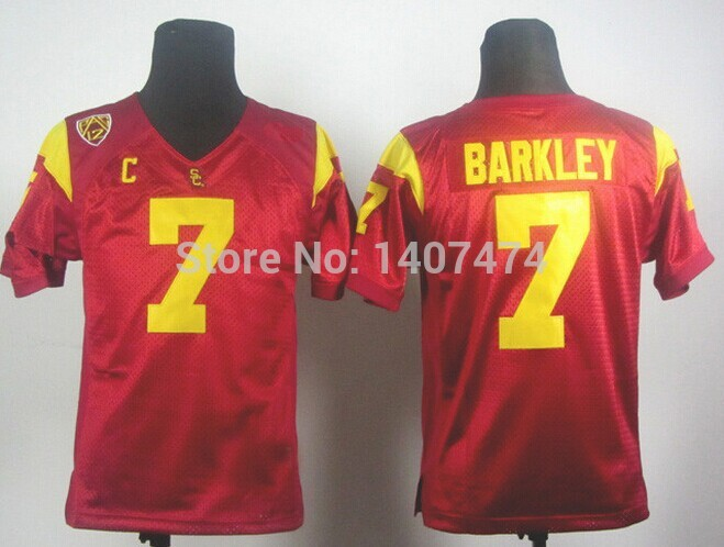 Good Quality Hot Sale/Kids NCAA football jersey USC Trojans Matt Barkley 7 red youth College Football Jersey Embroidery logos ,(China (Mainland))