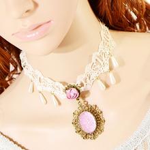 Handmade Hollow Lace Chain Gothic Lolita Flower Choker Necklace Pendant Xmas(China (Mainland))