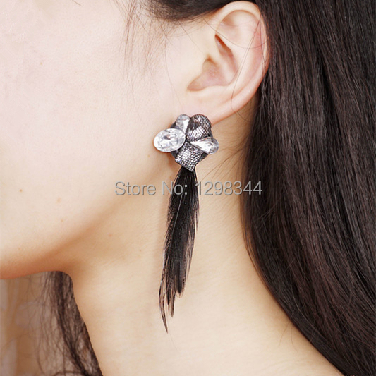 Free shipping wholesale white stone feather palace black lace earring long (if buy more,contact me,can get more discount )(China (Mainland))