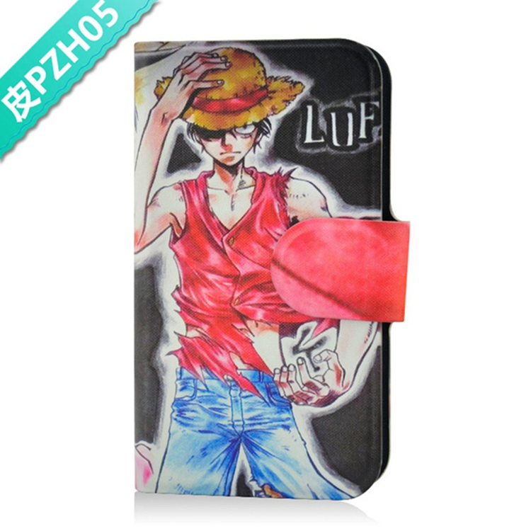 Straw hat Luffy Domineering Card Slot PU Leather Flip Case Cover For Nokia E71(China (Mainland))