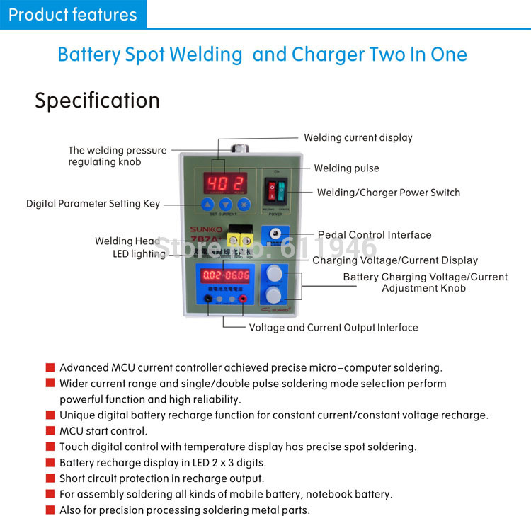 By DHL+ POWER 787A+ MCU Spot Welder with Soldering Iron Station Applicable Notebook and Phone Battery Precision Welding Pedal