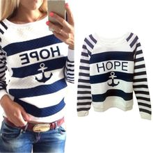 Women Hoodies Hot Anchors Striped Causal Tracksuit Blue White Patchwork Sweatshirts Ladies Pullover Free Shipping(China (Mainland))