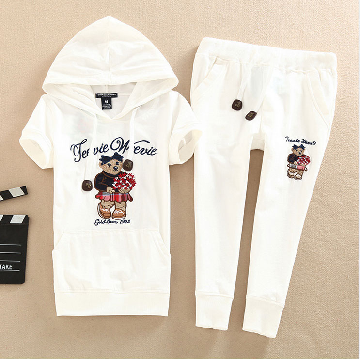 New 2016 Wome Summer Solid Hooded T Shirt Elastic Pants 2 pieces Sets Girls Bear Embroidery