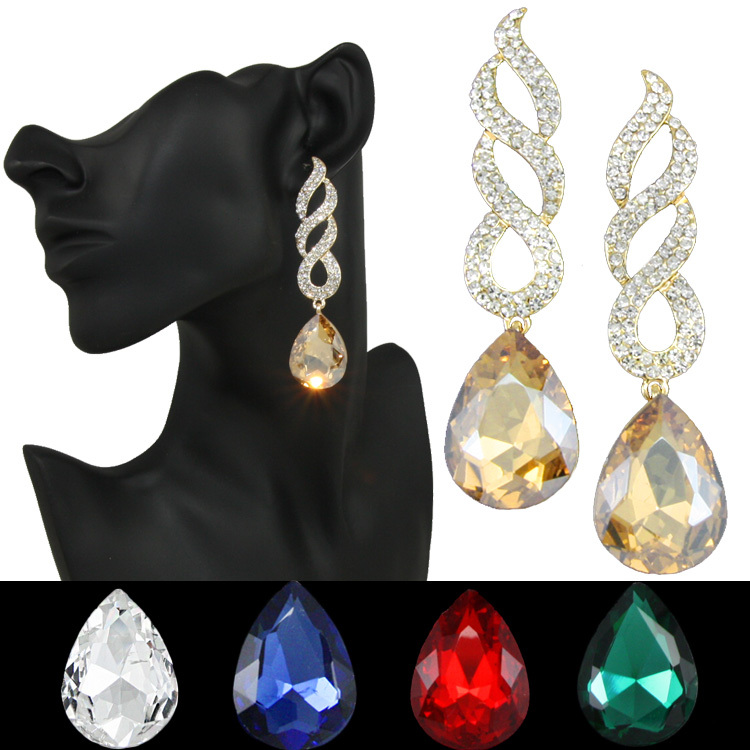 6 colors fashion gold crystal water drop earrings green black long earrings for women wedding jewelry summer style ersg84(China (Mainland))