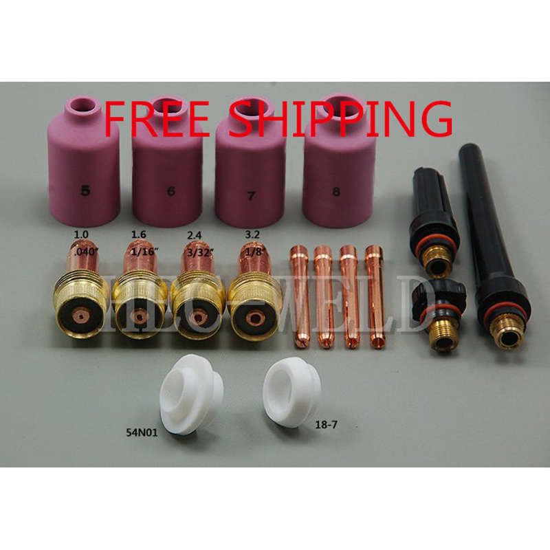 FREE SHIPPING TIG Consumables Accessories KIT Gas lens Nozzle insulator Cup Fit TIG welding Torch SR WP 17 18 26 Series 17PK(China (Mainland))