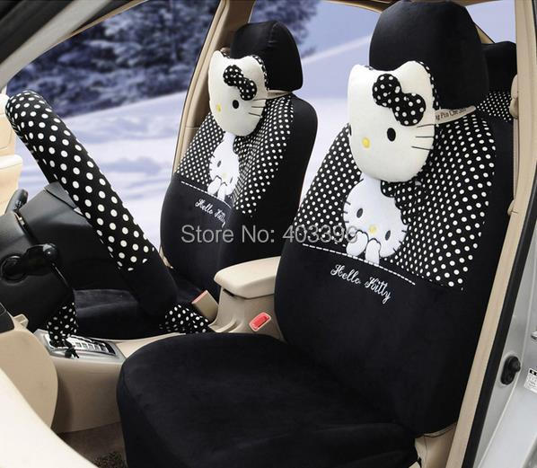 free shipping 18 pcs hello kitty universal black and white polka dot car seat covers steering. Black Bedroom Furniture Sets. Home Design Ideas