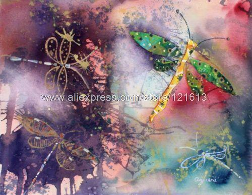 Dragonfly Sunset Mexico Mixed Media Painting Collage Novica Oil Paintings Abstract Painting Large Art Panel Canvas Abstract(China (Mainland))