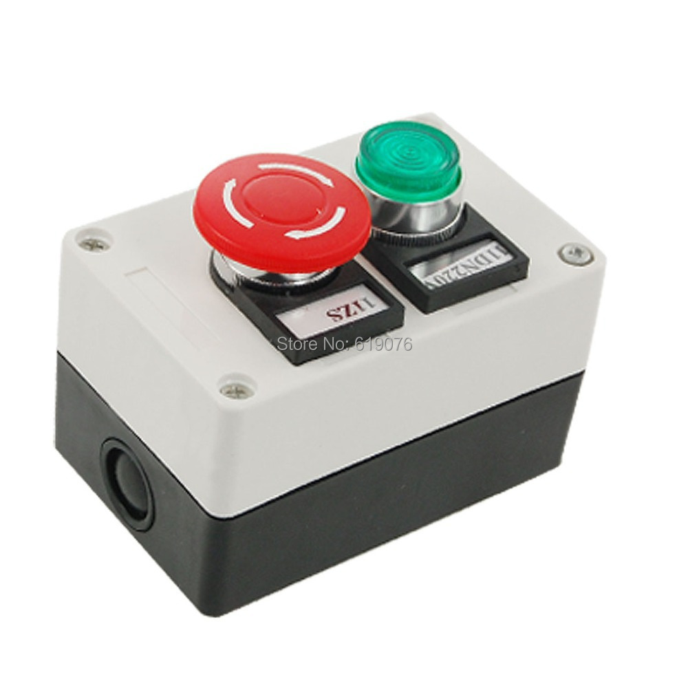 AC 220V Green Indicator Self Locking Switch Rotary Push Button Station<br><br>Aliexpress