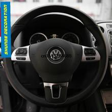 Car Steering Wheel ABS Chrome Decoration Cover trim 2 pcs for 2013 2015 Volkswagen vw Tiguan