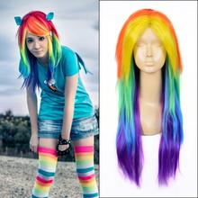 60cm My Little Pony Rainbow Dash multi color cosplay wig+ a wig cap