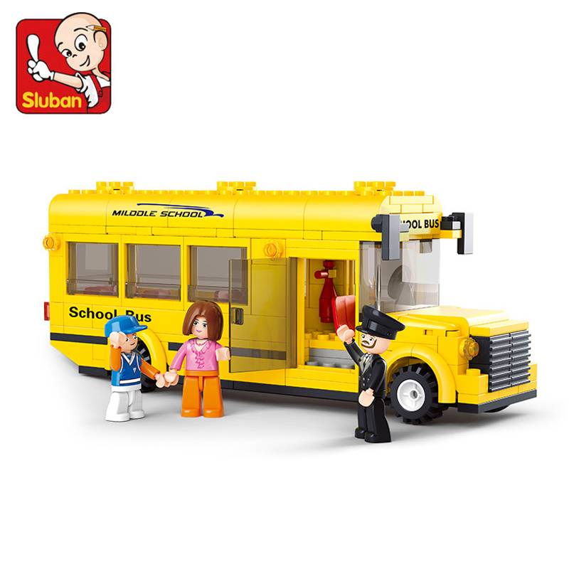 Sluban Assembled Building Blocks Mini School Bus toy Children Educational Minifigures toys Compatible with lego(China (Mainland))