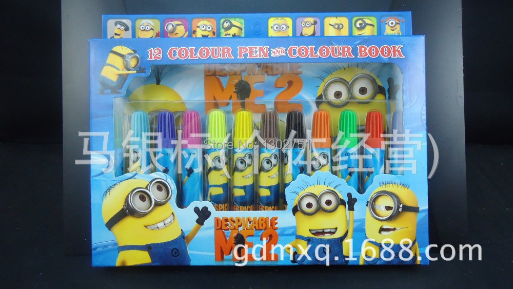 10sets Children Cartoon Despicable Me Color Book and 12 Color Pen Set Drawing Toy Baby Kids Boys Girls Minions Paint Stationery(China (Mainland))
