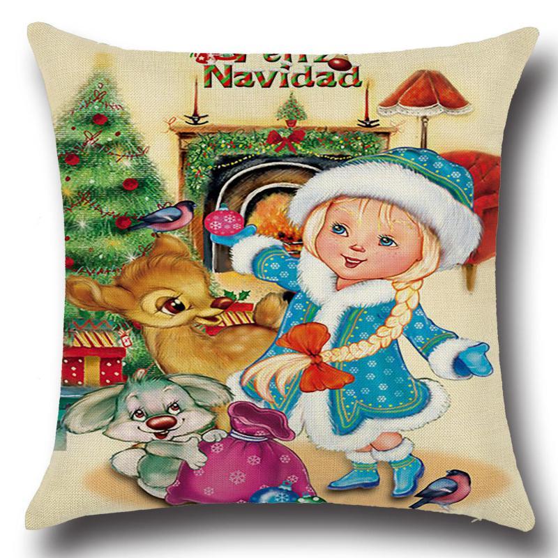 Christmas Cushion Decorative Pillows Santa Claus Throw Pillow Navidad Decoraciones Para El Hogar Child Sofa Chair Linen Cushions