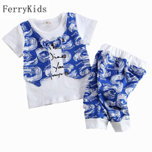 2016 New Summer Children Clothing Boys Clothes Kids Summer Set Baby Boy Clothing Set Vest Shorts Pants Gentleman Suit(China (Mainland))